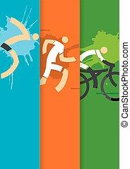 triathlon, závodní vůz, grafické pozadí