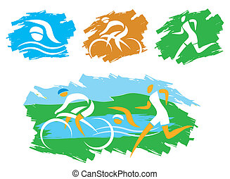 Triathlon_grunge_symbols - Icons symbolizing triathlon,...