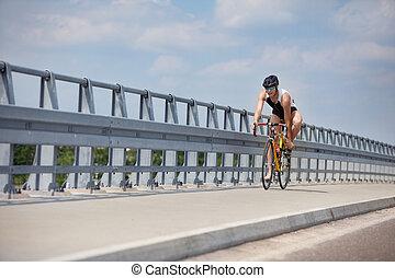 biker starting riding