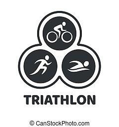 triatlón, acontecimiento, ilustración