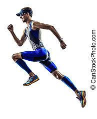 triatlón, atleta, corriente, ironman, corredores, hombre