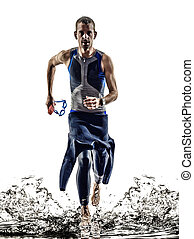 triatlón, atleta, corriente, ironman, nadadores, hombre