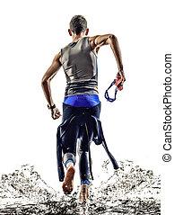triatlón, atleta, hombre, nadadores, hierro, corriente