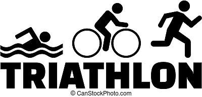 triatlón, corriente, natación, bicicleta, pictogram