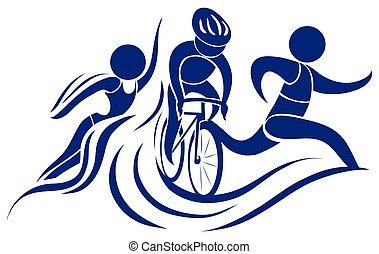 triatlón, deporte, color, icono, azul