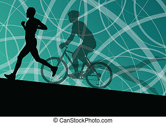 triatlón, maratón, activo, hombres jóvenes, natación, ciclismo, y, corriente, deporte, siluetas, colección, vector, resumen, plano de fondo, ilustración