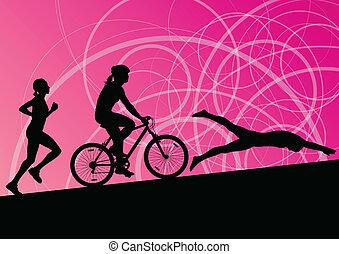 triatlón, maratón, activo, mujeres jóvenes, natación, ciclismo, y, corriente, deporte, siluetas, colección, vector, resumen, plano de fondo, ilustración