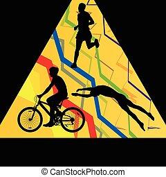triatlón, maratón, hombres, natación, ciclismo, y, corriente, deporte, siluetas, colección, resumen, plano de fondo