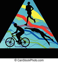triatlón, maratón, hombres, natación, ciclismo, y, corriente, deporte, siluetas, colección, vector, resumen, plano de fondo