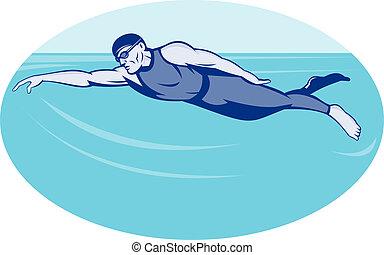 triatlón, natación, atleta, estilo libre