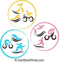 triatlón, otro, iconos, punto, acontecimientos