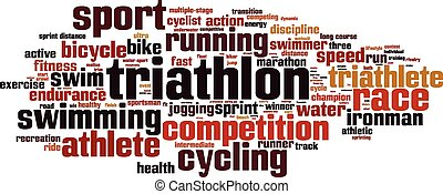 triatlón, palabra, nube