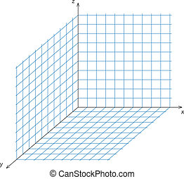 Triaxial system of coordinate - Vector illustration of...