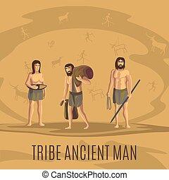 tribù, antico, caverna, persone