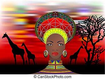 tribù, giraffe, femmina, ritratto, afro, tramonto, isolato, nation., tipico, orecchini, donna, africano, safari, etnico, acconciatura, zulu, batik, vettore, carino, necklace., vestiti, o, sud, bantu
