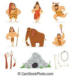 tribù, pietra, persone, età, relativo, oggetti
