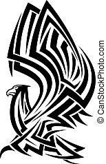 tribal, águila, tatuaje