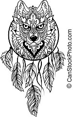 tribal, étnico, lobo, stile, dreamcatcher