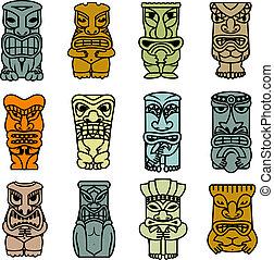 tribal, étnico, máscaras, e, totens