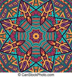 Tribal abstract floral mandala seamless pattern