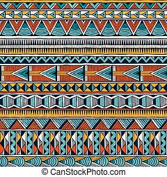 Tribal african ornament in vibrant colours. Seamless abstract vector background.