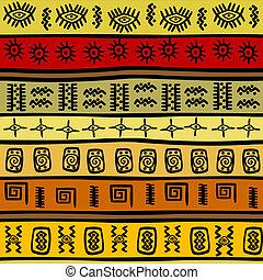 tribal, africano, padrão, hand-drown, fundo, étnico