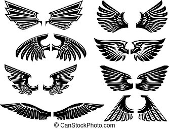 tribal, alas ángel, para, heráldica, o, tatuaje, diseño