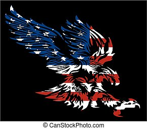 american eagle - tribal american eagle with flag design ...