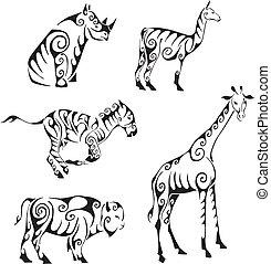 tribal, animaux, style, ungulates