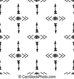 Tribal arrow and eye simple scandinavian style seamless...