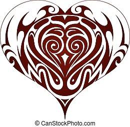 Tribal art heart shape tattoo