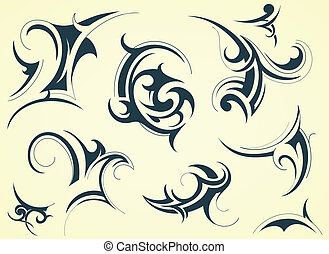Tribal art - Set of decorative shapes created in tribal art...