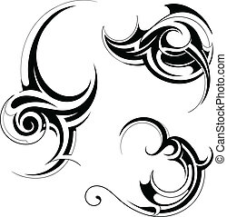 Tribal art - Set of decorative swirls in tribal art style...