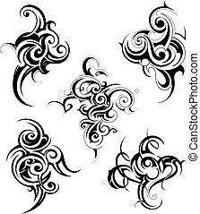 Set of decorative tribal art shapes
