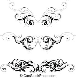 Set of various tribal art tattoo ornaments isolated on white