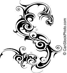 Tribal art shape isolated on white