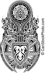 Tribal art shoulder and sleeve tattoo design