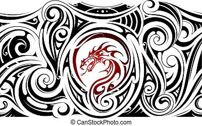 Tribal art sleeve tattoo with dragon shape