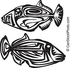 Tribal arts. - Fish tribal arts. Trigger fish.