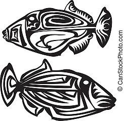 Tribal arts. - Fish tribal arts. Trigger fish.