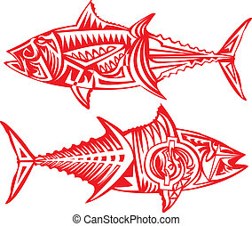 Tribal arts. - Tuna fish in tribal art.