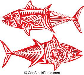 Tribal arts. - Tuna fish in tribal art.
