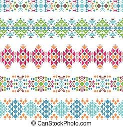 Tribal aztec ethnic borders - Colored tribal aztec ethnic...