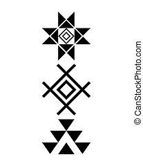 tribal, azteca, diseño, norteamericano, patrón, navajo,...