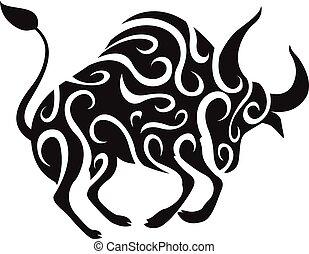 Taurus Head Tribal Tattoo Bull Front View