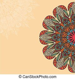 Tribal, Bohemian Mandala background with round ornament. Hand drawn vector illustration