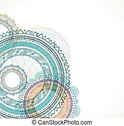 Tribal Bohemian Mandala background with round ornament pattern