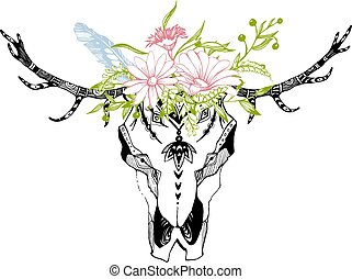 Tribal boho skull with flowers. Traditional ornament. Be wild and free.
