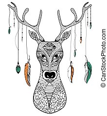 Tribal boho style deer on rustic background in vector