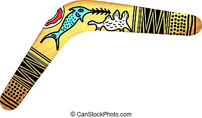 Tribal Boomerang isolated on white background. Tribal style....